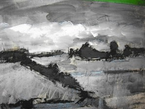 The foundation of a landscape includes gesso, charcoal, black and white acrylic + 1 acrylic color.